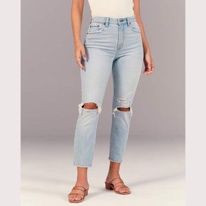 ABERCROMBIE Curve Love Mom Jean Ripped Knee sz 27